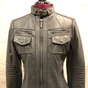 Michael Kors Gray Leather Jacket